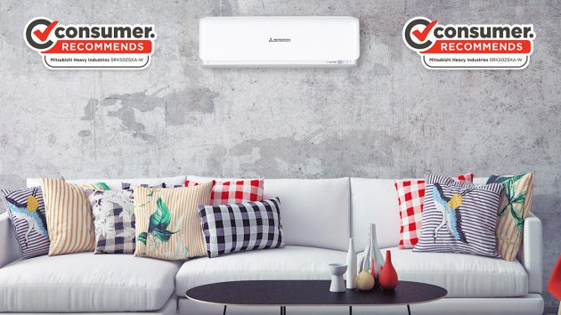 Avanti PLUS split system heat pump in modern loungeroom with consumer recommends logo