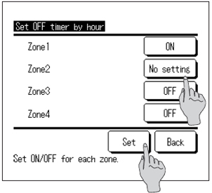 wired controller showing set off timer setting for zones