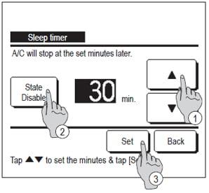 wired controller menu showing sleep timer menu