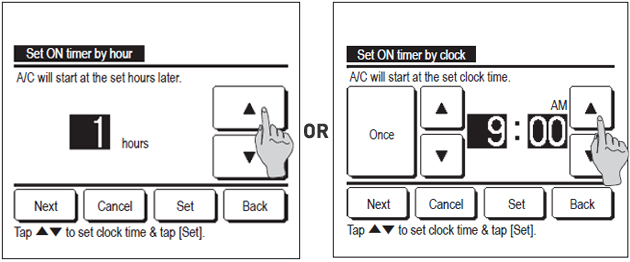 wired controller screen showing set timer by clock and by hour