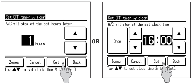 wired controller showing set timer by clock and by hour