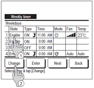 wired controller showing how to set weekly timer step 2