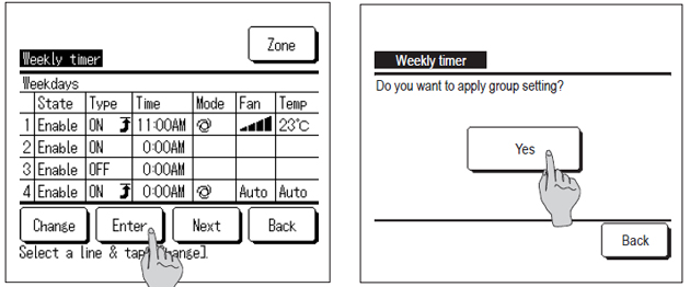wired controller showing how to set weekly timer step 4
