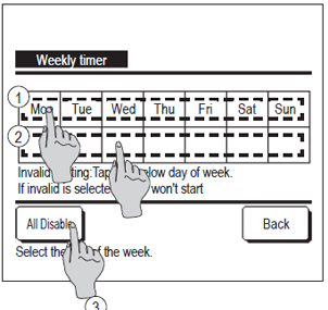 wired controller showing how to set weekly timer for individual days