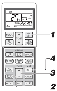 wireless remote control showing steps to activate off timer