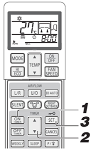 wireless remote control showing steps to activate ON timer